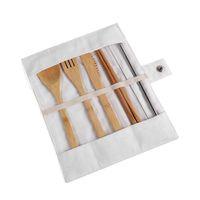 Juego de vajillas de madera Cuchilla de bambú Cuchillo de sopa Cuchillo de sopa Conjuntos de cubiertos con bolsa de tela Herramientas de cocina Utensilio 1433 V2