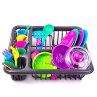 28 stück Spielzeug für Kinder Besteck Rollenspiel Spielzeug Set Küche Utensil Accessoires Töpfe Pfannen Kinder Küche Geschirr 210901