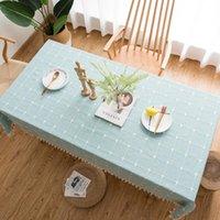 테이블 헝겊 주방 수호자 수 놓은 격자 무늬 현대 직사각형면 및 린 넨 식탁보 커피 장식을 덮는 술
