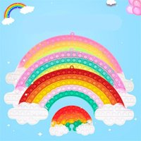 Fidget Toys Große Größe XL Rainbow Push Bubble Dekompression Regenbogenfarbe Stress Relief Antistress Squishy Simple Dimple Spielzeug 20,5 * 45 cm