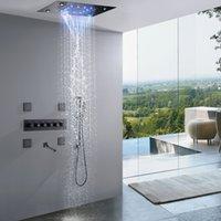 매트 블랙 폭포 온도 조절 장치 LED 비 샤워 시스템 14 x 20 인치 사각형 럭셔리 CEIL 장착 헤드 욕실 믹서 수도꼭지 세트