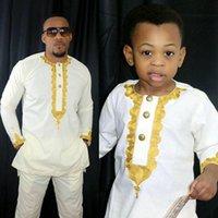Etnik Giyim Afrika Çocuklar Bazin Riche Dashiki Erkek Giysileri Güney Afrika Gömlek Pantolon İki 2 Parça Aile Çocuklar Set