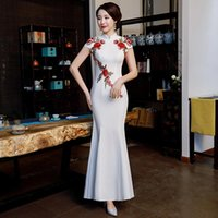 Ethnic Clothing Women Flower Bride Prom Party Dress Gown Elegant Mandarin Collar Vintage Button Qipao Chinese Satin Cheongsam Big Size Vesti