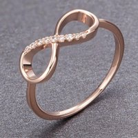Wedding Rings Rose Gold 925 Sterling Silver Jewelry Women Infinity Ring Endless Love Eternity Romantic Female Engagement Band