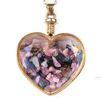 Crystal Heart Colgante Collares Party Supplies Suplementos Damas Drifting Deseando Botella de Cristal Collar para Mujeres Joyería de moda HWC7511