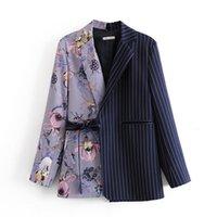Kadın Takım Elbise Blazers Kadın Moda Ofis Giymek Çiçek Baskı Patchwork Coat Vintage Cepler Ile Kemer Kabanlar Chic Kadın