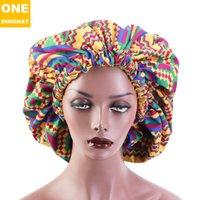 Ekstra Büyük Boy Afrika Desen Baskı Kadın Saten Çizgili Headwrap Bonnets Gece Uyku Kış Şapka Bayanlar Türban Txrbx Beanieskull Kapaklar 2655 Q