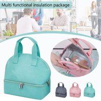 Lunch Bag For Women Double Compartment Insulated Tote Waterproof Makaron Bag, Layer Thermal Insulation Bento Dinnerware Sets