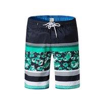 Pantaloni casual Boemia Pantaloni a righe a righe Stampa a striped Beach Spiaggia Allentato Surf Surf Surf Shorts