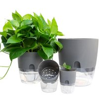 Watering Planter Handmade 2 Layer Self Plant Flower Pot With Water Container Round Flowerpot Home Garden Decor Vases