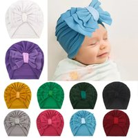 Baby Hat Infant Toddler Girl Boy Bow Knot Indian Turban Beanie Bowknot Kids Headbands Caps Solid Soft Warm Hairband Hats Boutique Accessory