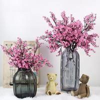 홈 장식 액세서리 인공 꽃 실크 babysbreath 복숭아 꽃다발 결혼식 발렌타인 데이 장식 꽃을 위해 장식