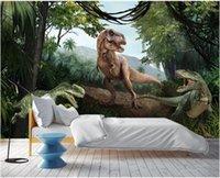 Wallpapers Custom Mural On The Wall 3d Po Wallpaper Jurassic Dinosaurs In Primeval Forest Decor Living Room For Walls 3 D
