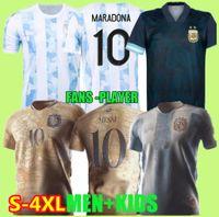 2021 Argentina Conceito Jersey Jersey Maradona Especial Elementos Dourado Messi Camisa de Futebol 20 21 Dybala Camisas de futebol Aguero Icardi Copa América