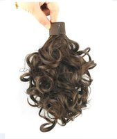 """060 Synthetic Ponytail Long Straight Hair 16"""" 22"""" Clip Ponytail Hair Extension Blonde Brown Ombre Hair Tail With Drawstring"""