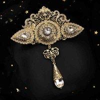 كبيرة الحجم المغربي نمط الذهب الكلاسيكي كريستال بروش مع حجر الراين مجوهرات الزفاف العربية
