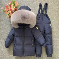 Fashionable designer children's clothing Children Ski Jackets Kids Skiing Down And Pants Overalls Suit For Baby Boys Girls 0-12 Y Snowsuit T
