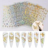 Sheets Metal Silk Foil Mesh Butterfly 3D Nail Art Pegatinas Autoadhesivo Cinta Línea Calcomanías Papel Manicure Design Accesorios1