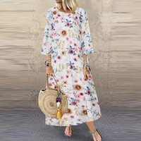 Casual Dresses Sexy Women Dress Plus Size 5XL Summer 2021 Long Sleeve Floral Maxi For Lady