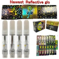 Reflective Glo Vape Cartridges Ceramic Tips Carts extracts Atomizer 0.8ml 1ml 510 Thread Thick Oil Atomizers Empty Vapes Pen Cartridge Hologram Packaging Vaporizer