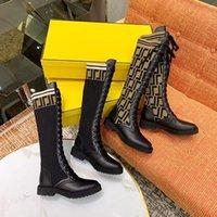 Najwyższej Jakości Projektant Luksusowy F Knitting Sexy Damskie Kolano Buty Moda Outdoor Socks Half Boot Damskie Płaskie Elastyczne Koronki Buty Rozmiar 35-41 Z Pudełkiem