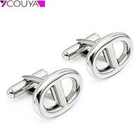 Oval 8 forma h aço inoxidável de aço inoxidável cor de prata mens homens jóias para negócios esportes manguito links homens presentes 201106