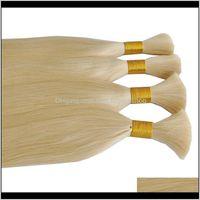Wefts Extensions Productsgrade 10A 613# Silk Straight Wave Bundles 5Pcs Lot Peruvian Virgin Human Color 613 Blonde Hair Bulk Drop Delivery 2