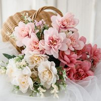 Decorative Flowers & Wreaths 30cm Rose Pink Artificial Silk Living Room Home Wedding Decoration Indoor Autumn Orchid Bouquet Fake Flower Hig
