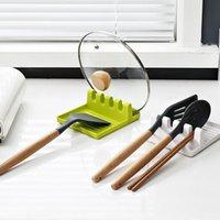 Soporte de cuchara Tenedor de horquilla Herramientas de cocina Espátula Rack Estantería Organizador Pot Tapa de tapa Sin deslizamiento Utensilio XBJK2104