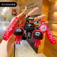 Keyrings Korea Popular Squid Game Keychain Women Bag Pendant Creative Anime Keychains Car Key Holder Kids Toys 3D Mini Doll Free DHL