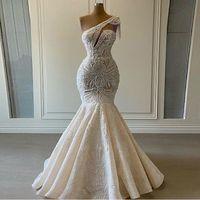 Other Wedding Dresses 2021 One Shoulder Mermaid Beaded Crystal Lace Applique Tassel Bridal Gown For Party Vestidos De Novia