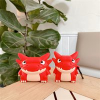 For Airpods 1 2 Cases 3D Cute Cartoon Red Dragon Style Silicone Protective Charging Box Case for Airpod Pro 3 Accessories Fundas with Hook