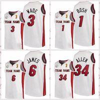 2021 Недорогие мужские Ретро Классический Баскетбол Джерси Дуэйн 3 Уэйд Луй 34 Аллен Винтаж Дышащие Шорты Размер S-2XL Синий Белый Черный Красный