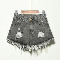 Women's Shorts Hole Irregular Cat Fringe Plus Size Denim Women High Waist Micro Tassel 2021 Summer Short Black Fashion Casual Streetwear