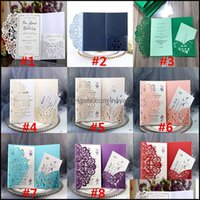 Greeting Event Festive Supplies Home & Gardenparty Birthday Wedding Cards Kits Flower Laser Cut Pocket Bridal Invitation Card For Engagement