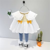 Baby Girl Lace Fold Clothes 1 2 3 4 Years Cute Kid Autumn Top + Denim Jeans Trousers Children girls Costume 210727