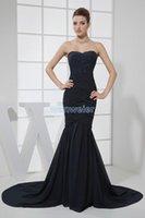 Vestidos de festa 2013 longa sereia preta vestidos de bola formal custommade tamanho / cor beading pequeno trem chiffon vestido de noite