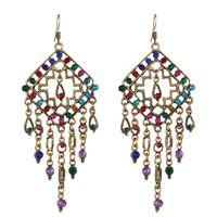 Indian Jhumka Rhinestone Retro Earrings For Women Rhombus Ethnic Long Tassel Dangle Earring Boho Summer Holiday Jewelry