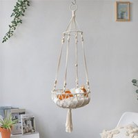 Cat Beds & Furniture Boho Style Macrame Hammock Pet Kitty Swing Cage Bed Hanging Sleep Chair Seats Handwoven Cotton Rope Wall Tapestry