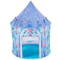 Blue Princess Castle Tent pieghevole Tipi Camping House for Kids Boys Girls Indoor Outdoor Game Gioca Carino Tende e rifugio giocattolo