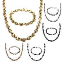 Acciaio inossidabile Unisex Hip Hop Jewelry Sets Bracciale per collana da donna ad alta lucidatura da uomo 2pcs Set di caffè con bottoni di chicchi di caffè 5color