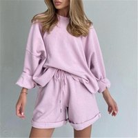 Women's Tracksuits Cotton Sets Women Casual Two Pieces Short Sleeve T Shirts And High Waist Pants Solid Outfits Tracksuit Spring