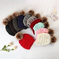 Girls Knitted Pom Poms Hat 37colors Fashion Woman Fur Ball Warm Beanies Skull Cap Men Outdoor Ski Crochet Cap LLA1021