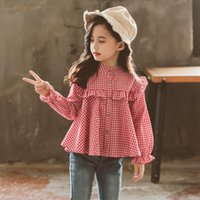 Shirts HziriP 2021 Spring Summer Girl Blouses Long Sleeve O-Neck Casual Plaid Kids Student Stylish Tops Outwear