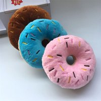 Soft Dog Donuts Plush Pet Dog Chew Toy Cute Puppy Squeaker Sound Toys Funny Puppy Small Medium Dog Interactive Toy 4572 Q2