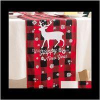ديكورات 180x33 سنتيمتر الأحمر منقوشة سماط ندفة الثلج الأيائل القماش عيد الميلاد النسيج عداء الإبداعية عيد الميلاد الجدول الديكور DBC LDS H8IWJ