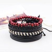 Bracelet de perle en bois multicouche Hommes Casual tressé Cuir Bracelets Classic Rope Rope Bangles Bijoux 2021 Accessoires de mode Perles, Strand