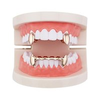 Hip Tiger Vampire Jewelry Gun Teeth Colors Body Gold Dental Silver Plated Four Smooth Golden Grills Real Grillz Hop Rose Rappers Gold jllny