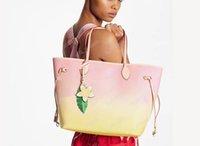 최고 품질의 여성 토트 크로스 바디 가방 그라데이션 캔버스 핸드백 패션 양면 인쇄 다른 스타일 지갑