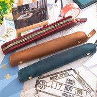 Ретро натуральная кожаный фонтан Pen Case Paend Bags Bags Protective Protective Multeve для стилуса Anti-Tobly Pough Pouch Parifts KDJK2104